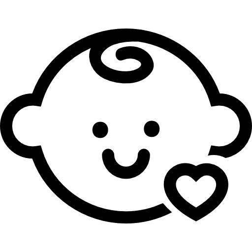png free stock Baby head with a small heart outline