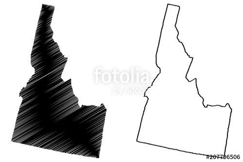 clip Map illustration scribble sketch. Idaho vector