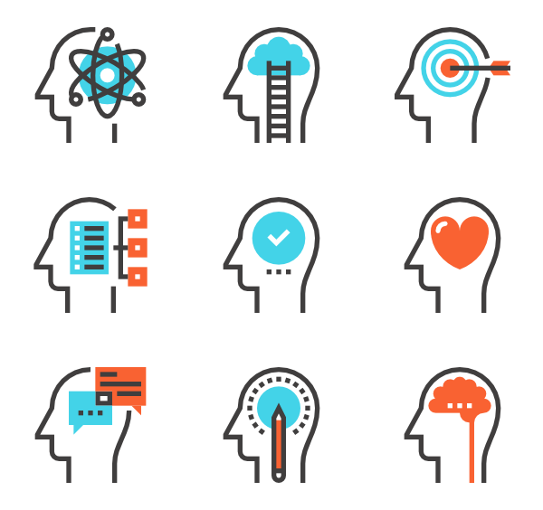 clip  head icon packs. Vector calculation brain