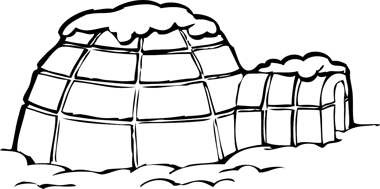 black and white library Clip art black and. Igloo clipart.