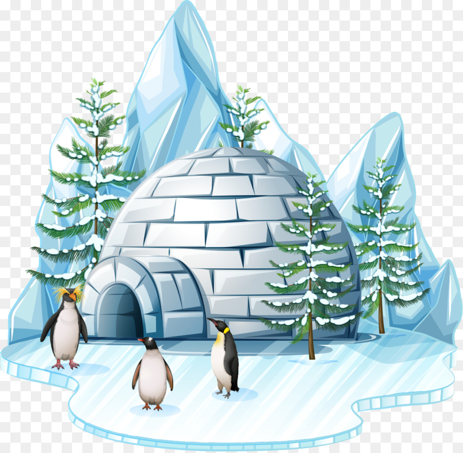 image library library Tree background ice . Igloo clipart christmas.