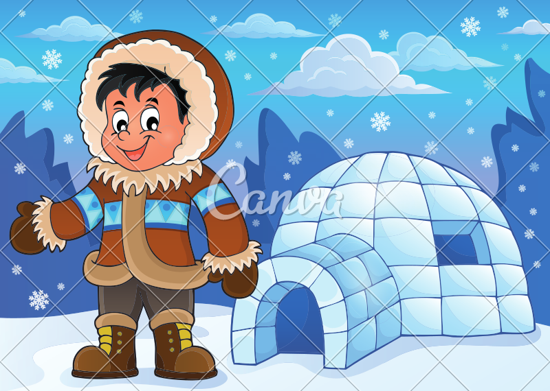 banner stock In an icons by. Igloo clipart man