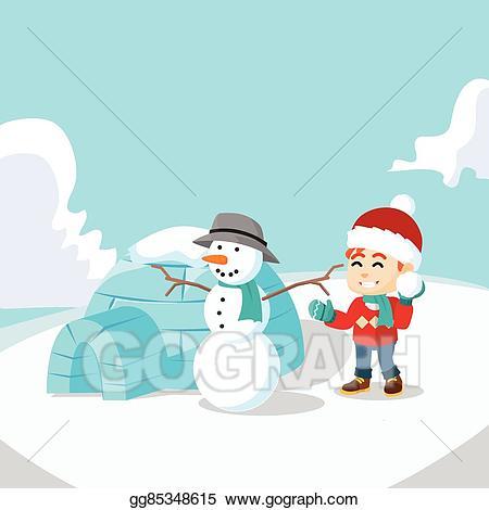 clip art transparent library Vector illustration boy snow. Igloo clipart man
