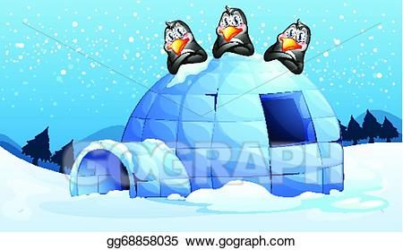 banner black and white Igloo clipart scenery. Vector art three penguins.