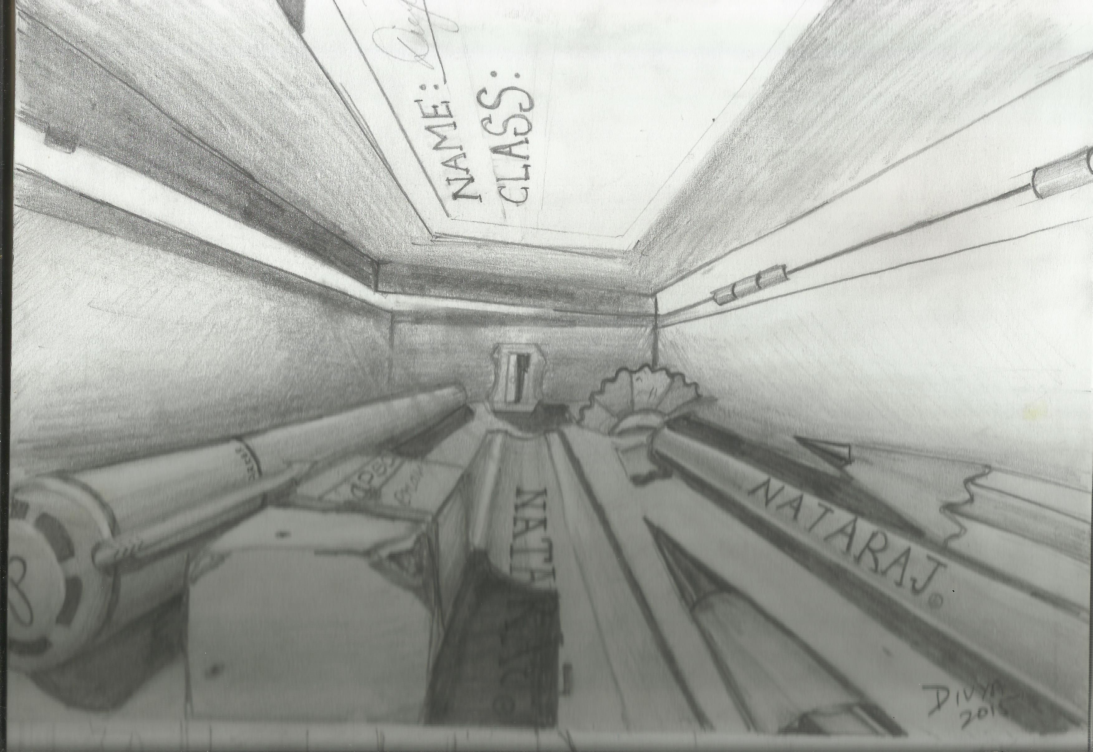 graphic Drawing perspectives pencil. Imagine you are inside
