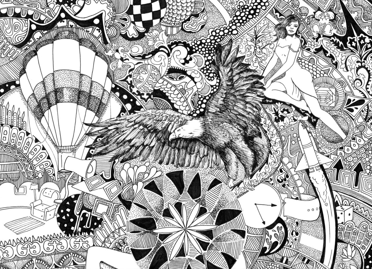 clipart royalty free stock Imagination drawing pen and ink. Doodle intricate oeskriett .