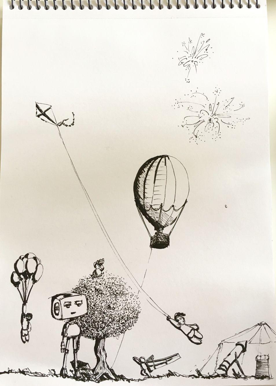 transparent Gesture black kids sketches. Imagination drawing pen and ink