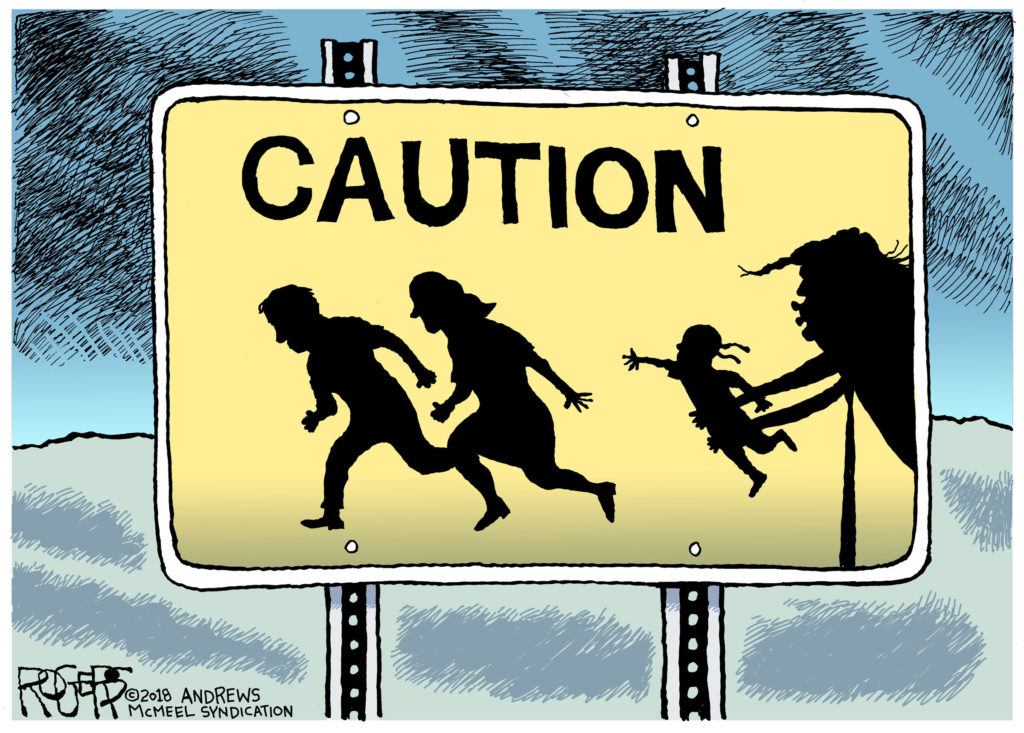 image black and white Immigration drawing political cartoon. Editorial cartoons calling it.