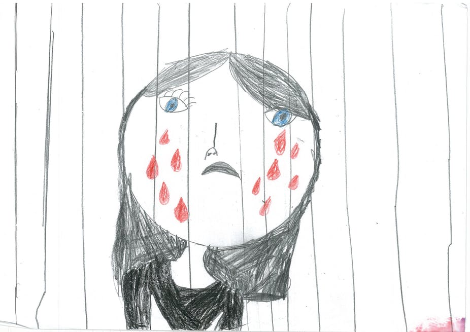 image royalty free stock Immigration drawing refugee kid. Detained children risk life.