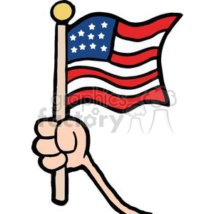 clipart freeuse library Independence clipart. Hand waving an american.