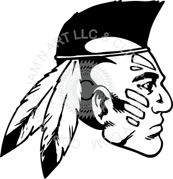 clip art royalty free Indian head with mohawk profile