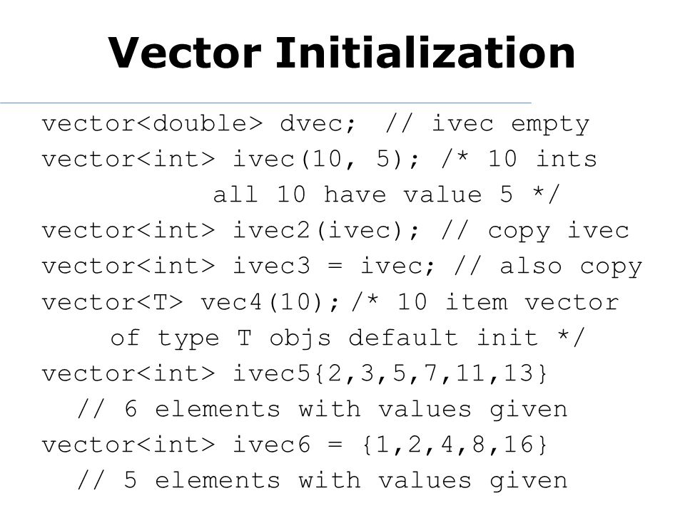 royalty free Arrays vectors and strings. Initialize vector.
