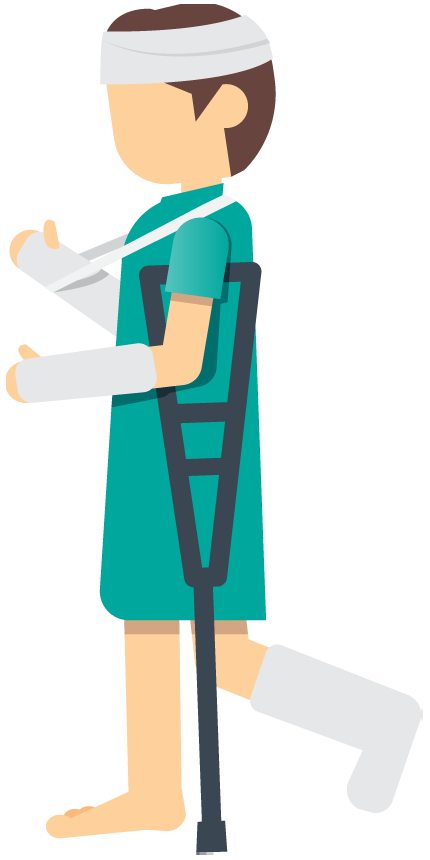 jpg royalty free A woman patient with an injured leg foot or ankle using crutches