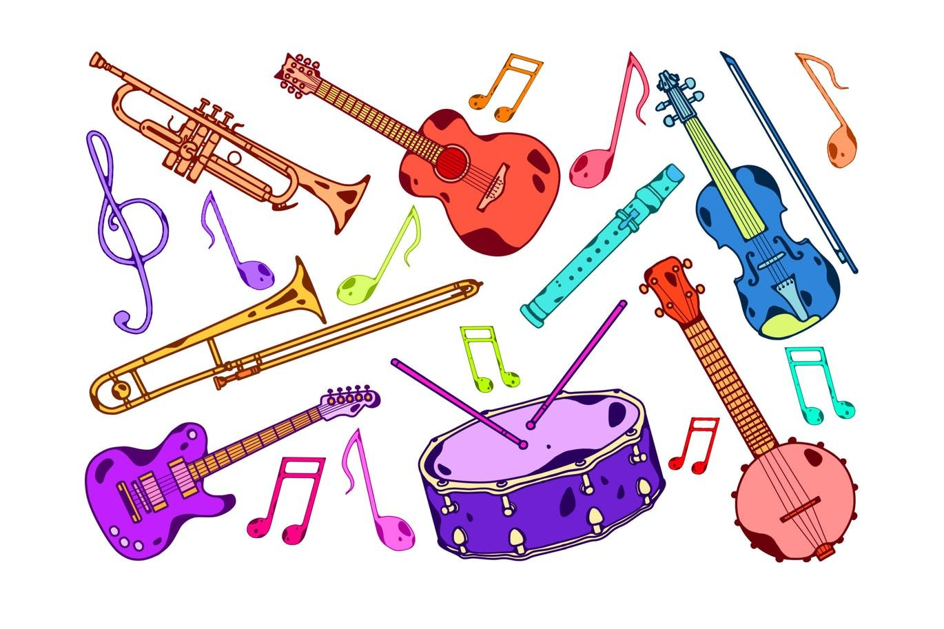 clip transparent download Colorful psd illustrations . Instruments clipart.