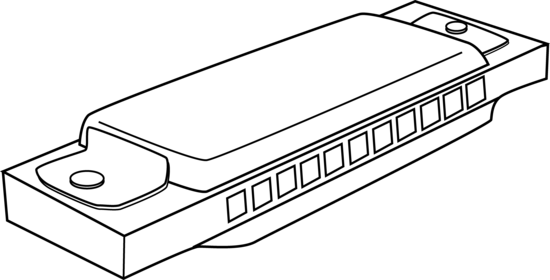 vector black and white Harmonica Coloring Page