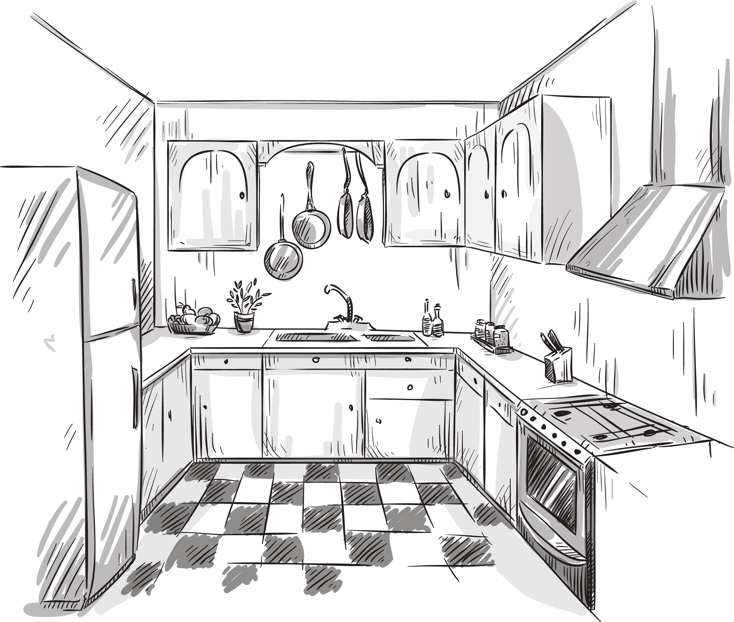 svg download Kitchen design services sketch. Interior drawing.