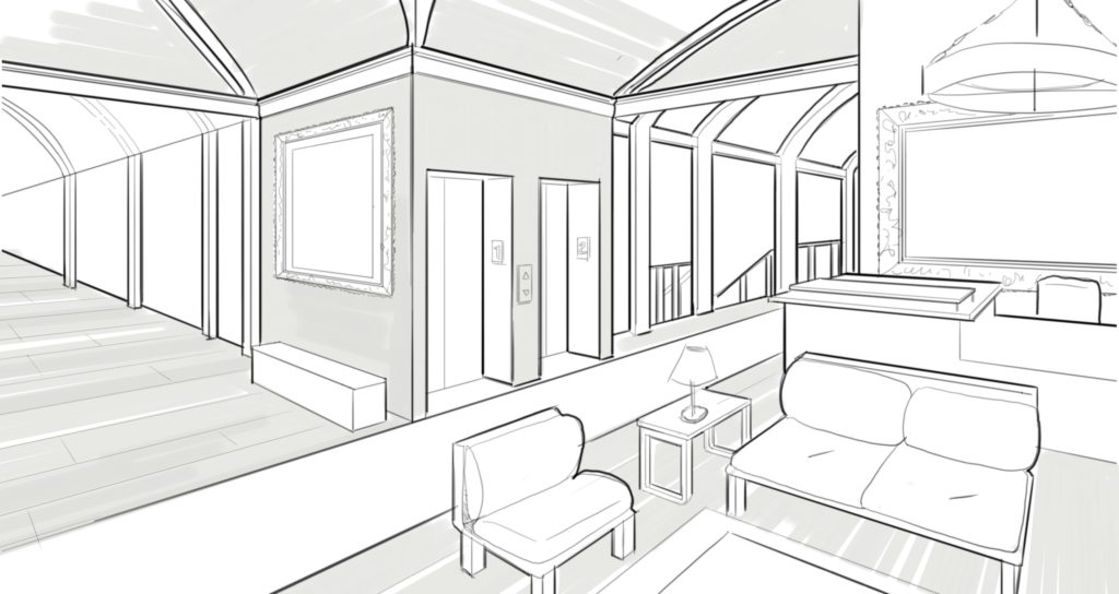 black and white Interior drawing. Perspective guides using two.