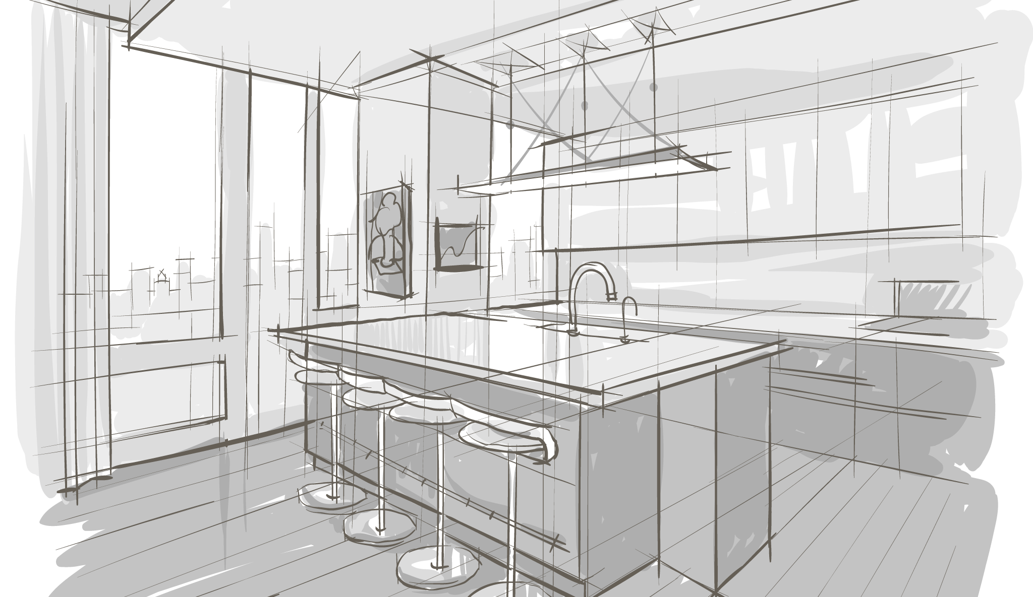 jpg transparent library Interior drawing. Creative studios designers .