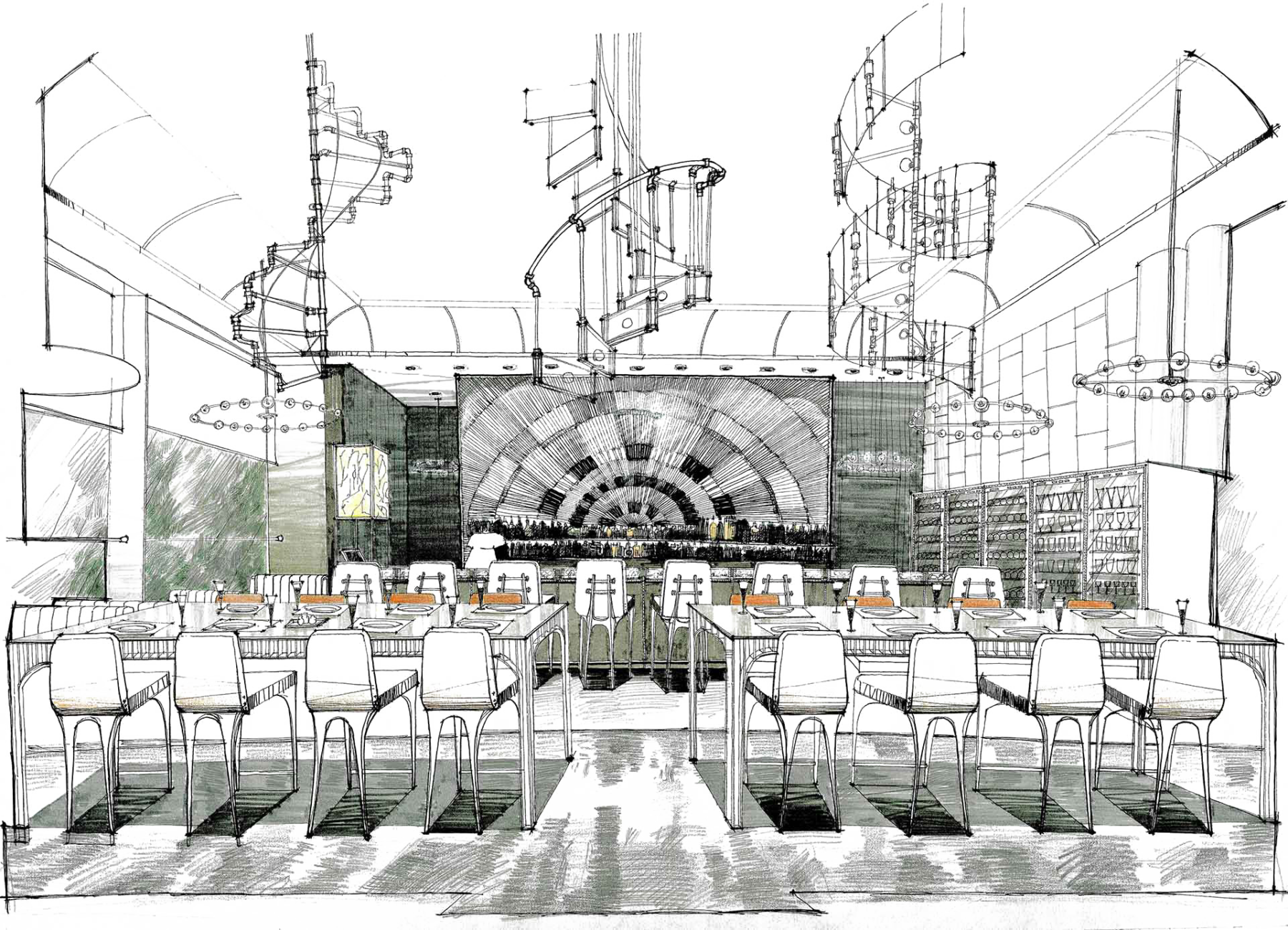 clip art black and white Interior drawing. Joyce wang studio based.