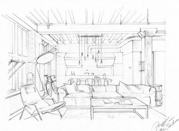 clip art free download Interior drawing. One point perspective sketching.