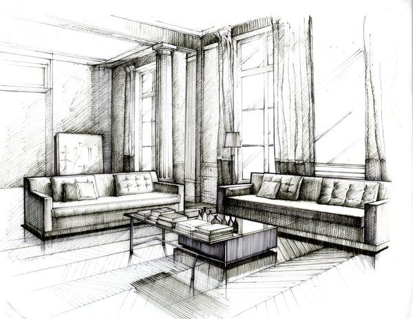 clip art royalty free download Interior drawing. Pin on illustrations renders.