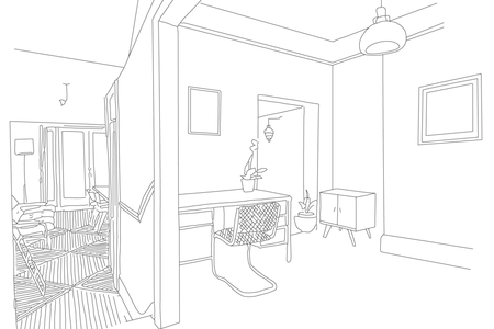 clip art royalty free interior line drawings