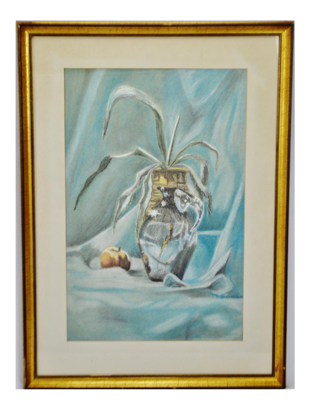 svg download Vintage Framed Pastel Still Life Drawing