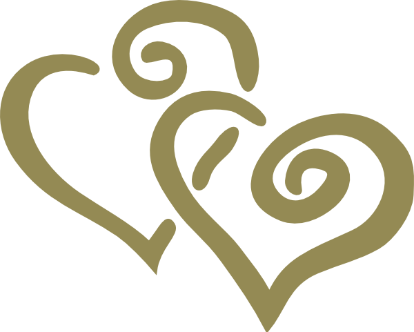 graphic black and white library Gold Interlocked Hearts Clip Art at Clker