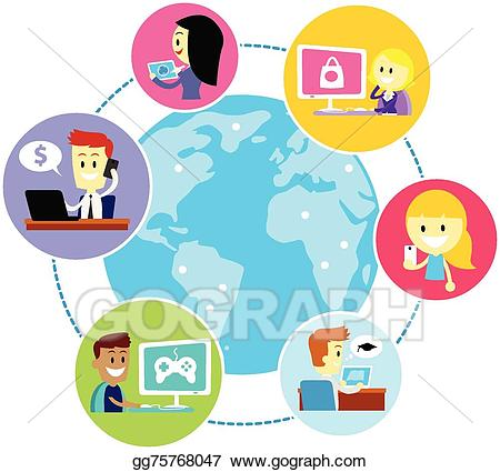 jpg transparent library Vector illustration everyone using. Internet clipart