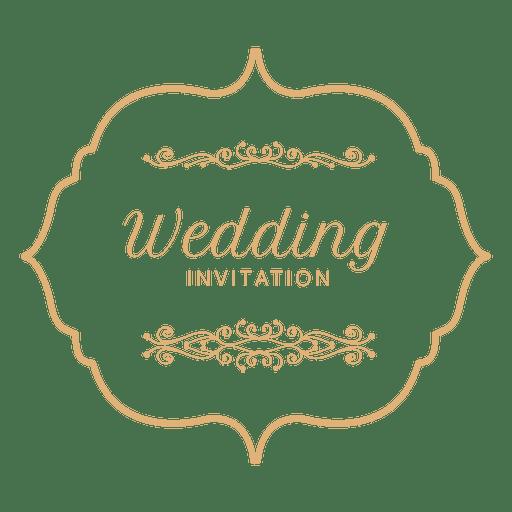 jpg black and white library Vector emblem wedding. Invitation label transparent png