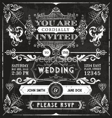 clip library Vintage wedding invitation vector