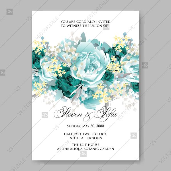 image library stock Vintage Wedding invitation vector card template mint green