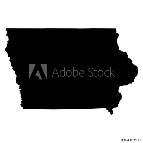 vector royalty free stock Iowa black map on white background vector