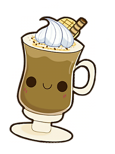 royalty free library Latte cappuccino drink kawaii. Irish coffee clipart