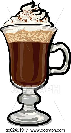 vector black and white Vector art glass of. Irish coffee clipart