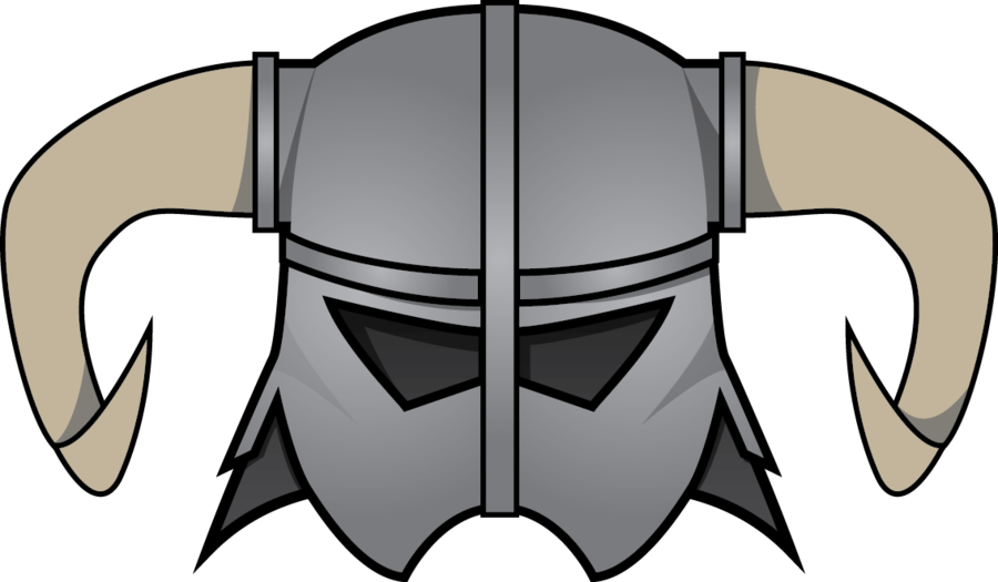 black and white stock Skyrim iron helmet by The