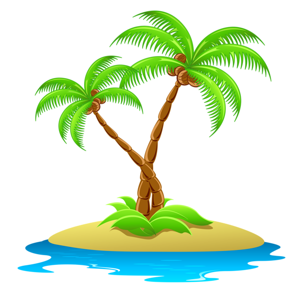 image transparent Island clipart. With palm trees transparent.