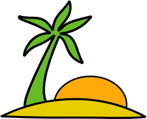 graphic library stock Island clipart. Palm and the sun.