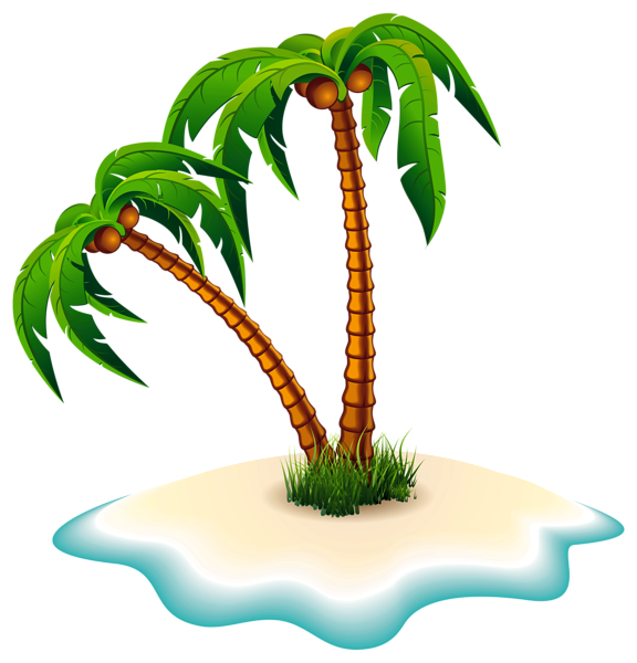 vector royalty free Palm Trees and Island PNG Clipart Image