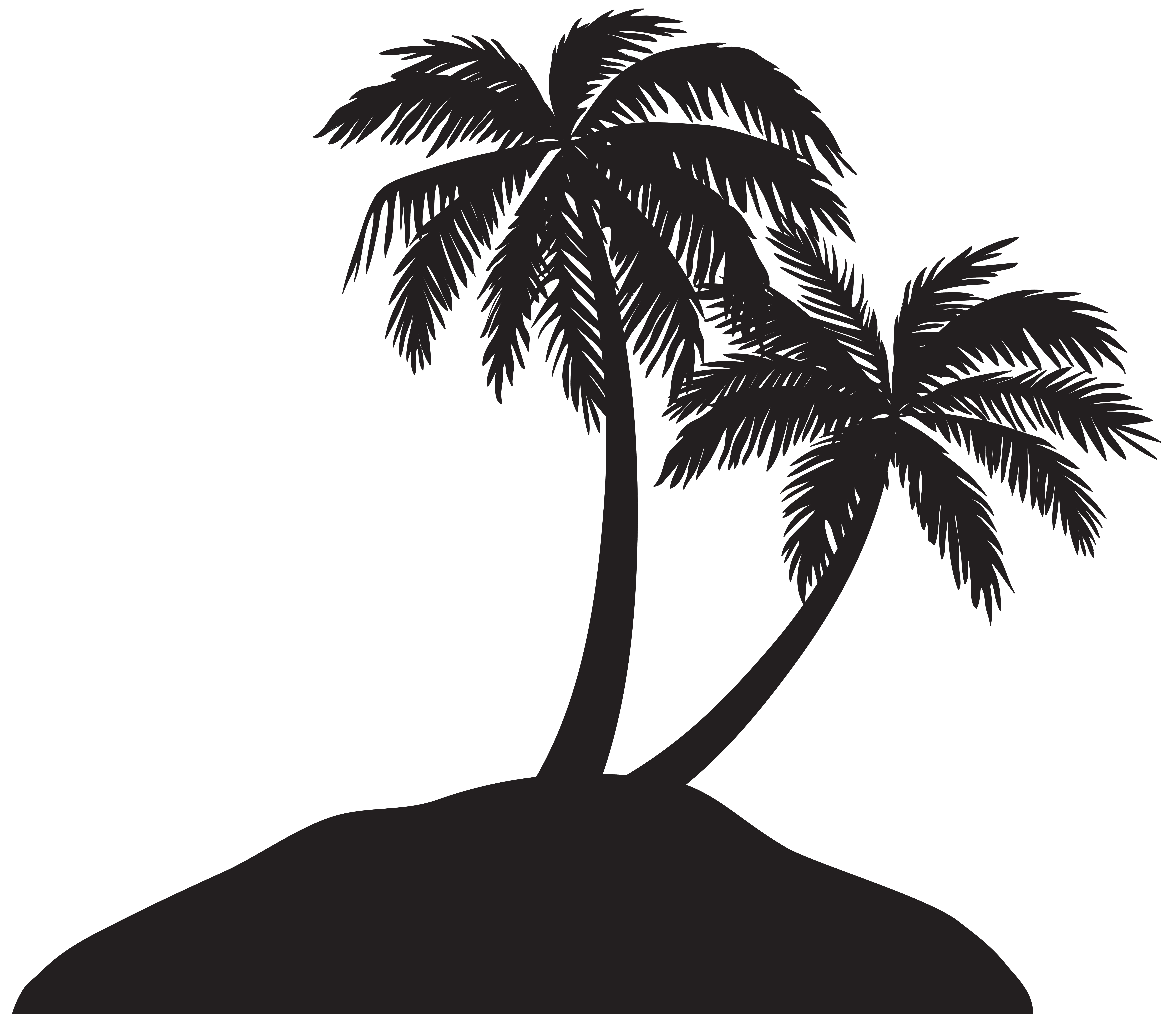 image royalty free Island with Palm Trees Silhouette PNG Clip Art Image