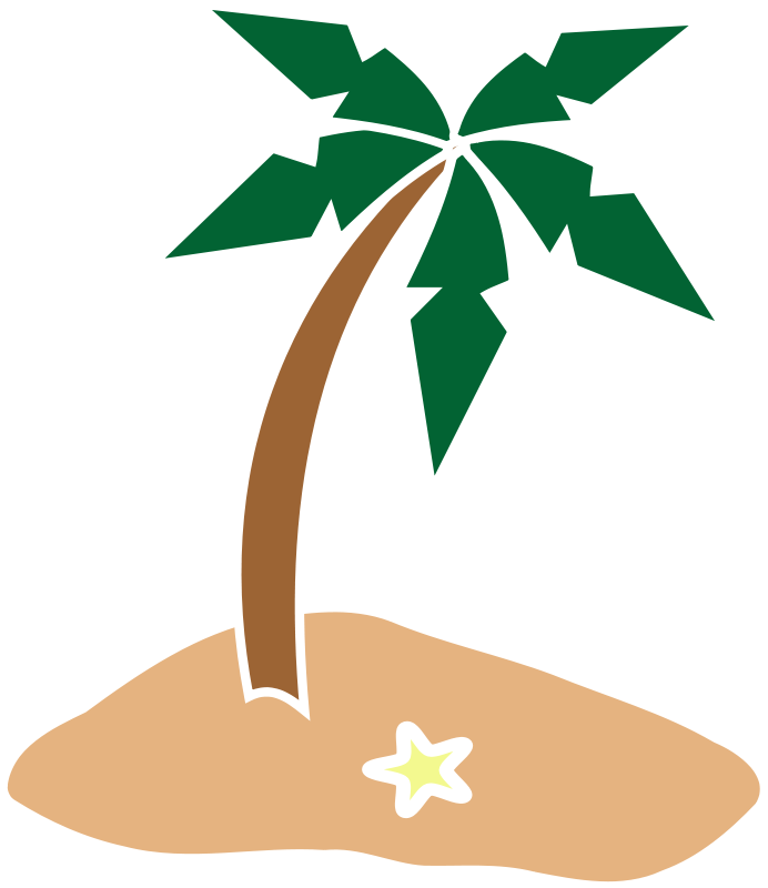 vector transparent download Palm Tree Island Clipart