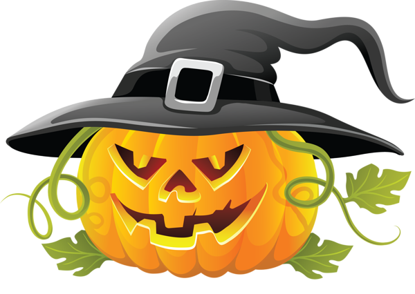 banner royalty free stock Large Transparent Halloween Pumpkin with Witch Hat Clipart