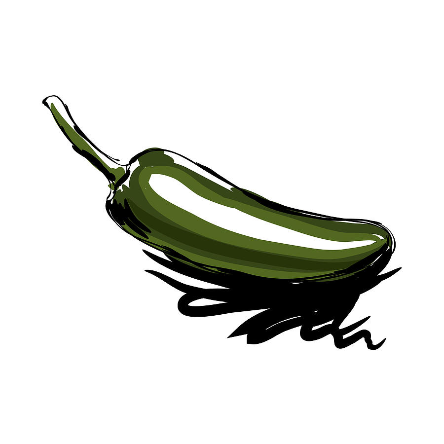 transparent Jalapeno drawing. By leocrafts