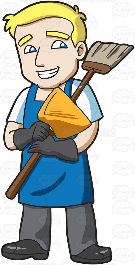 image library A holding broom and. Janitor clipart.