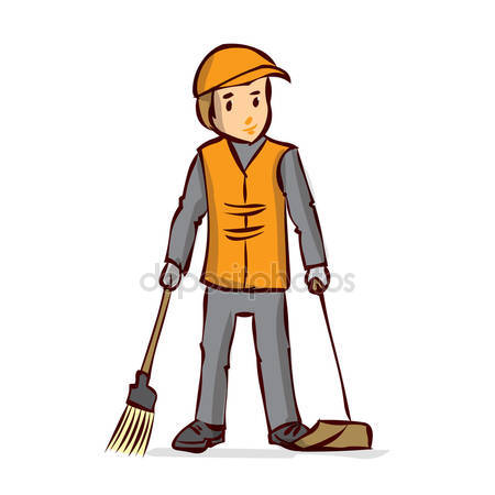 image transparent library Street station . Janitor clipart sweeper