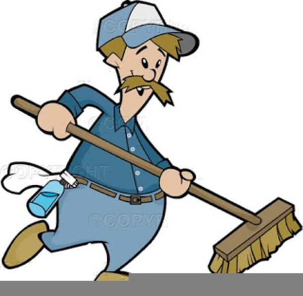 black and white stock Janitor clipart sweeper. Black and white