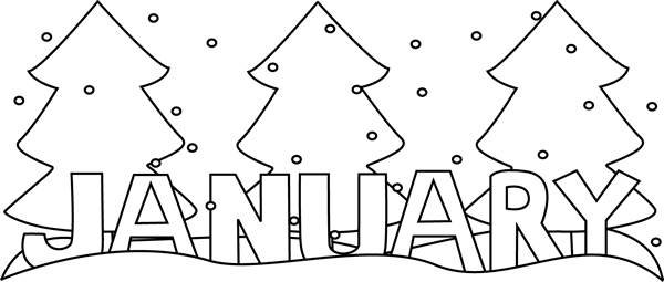 png free stock January clipart. Black and white happy