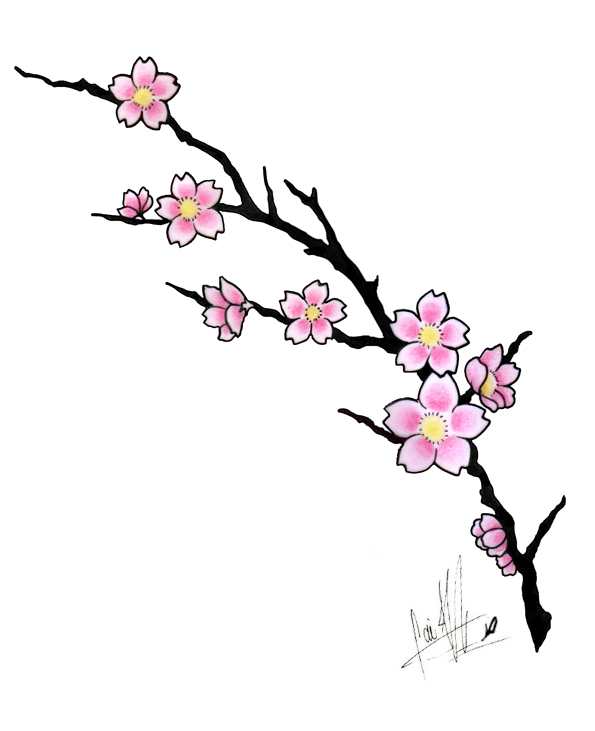 vector transparent download Japanese cherry blossom tree clipart. Amazing flowers tattoo design.
