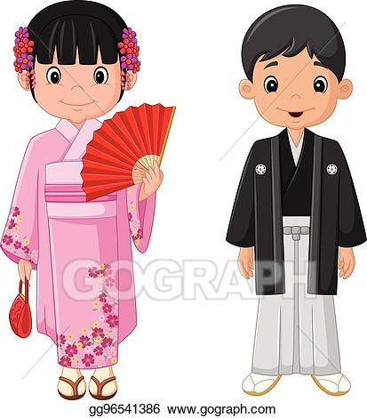 stock Vector stock cartoon couple. Japanese clipart clothes japan