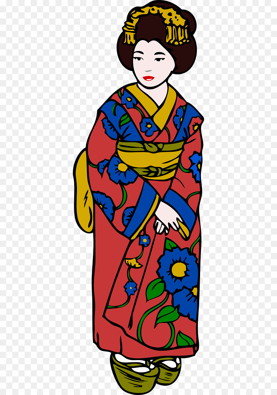picture royalty free library Japanese clipart clothes japan. Woman cartoon clothing dress